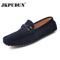 JKPUDUN Summer Men Shoes Casual Luxury Brand Mens Penny Loafers 2017 Suede Leather Slip On Italian Driving Shoes Men Chaussures