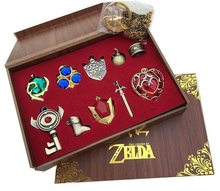 The Legend of Zelda Logo Cosplay Kalung keychain gantungan kunci Liontin 10 pcs Set Koleksi Kotak Hadiah(China)