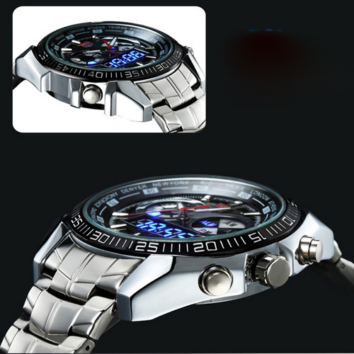 Hot TVG Male Sports Watch Men Full Stainless Steel Vattentät Quartz - Herrklockor - Foto 6