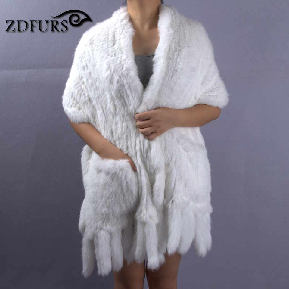 8992acf42 ZDFURS * New Real Rabbit Fur Scarf For Women Natural Knitted Rabbit Fur  shawl With Tassel