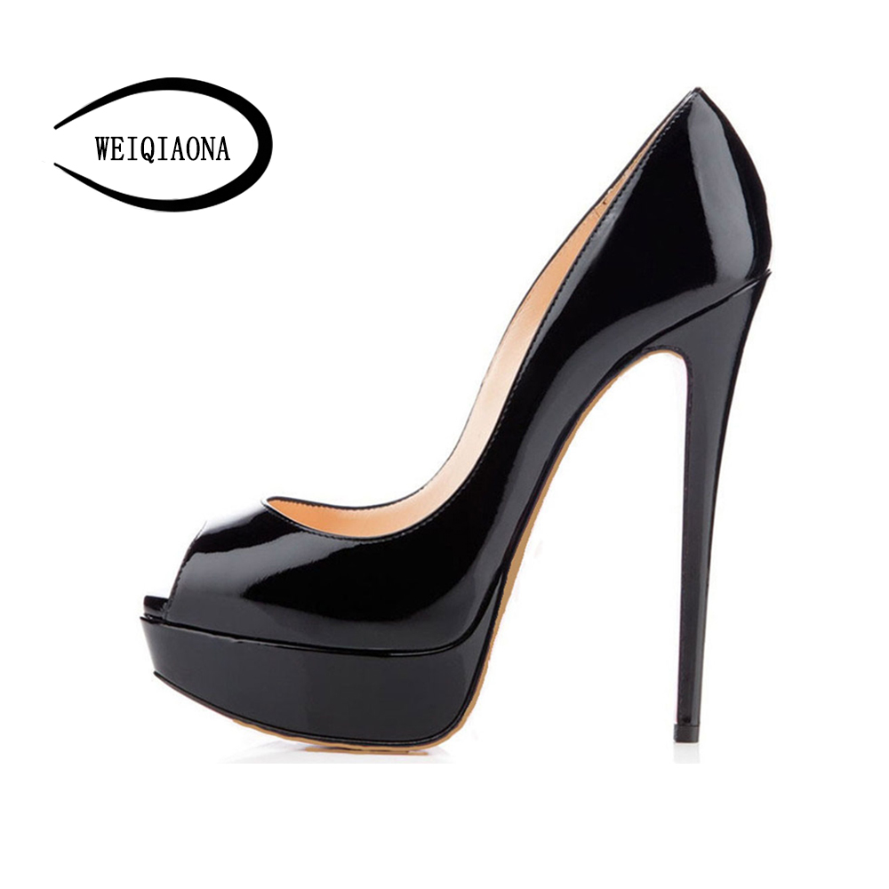 WEIQIAONA Big size 35-46 Women's Sexy classic peep-toe high heels pumps singles shoes platform Work Dress Party model shoes