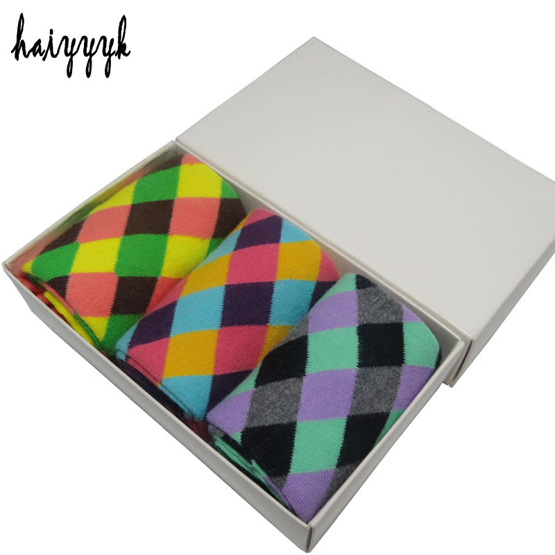 6 Pcs = 3 pairs / lot combed cotton men's socks argyle dress rew socks