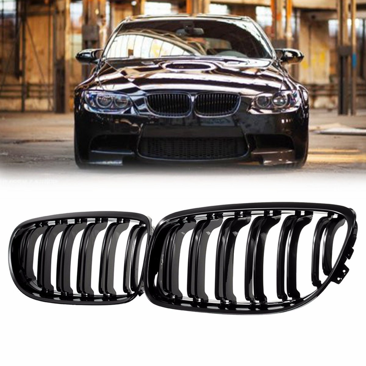 Pair Gloss Black Car Front Grille Grill For BMW E90 LCI 3 Series Sedan Wagon 2009