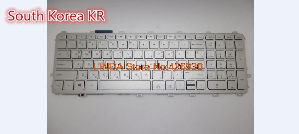 Laptop Keyboard For HP For envy 15-Q000 M6-N000 United States US/South Korea KR sliver frame with backlit 760743-001 760743-291 laptop keyboard for sony svt15 black us united states without frame but with backlit 9z n9ebw 01d
