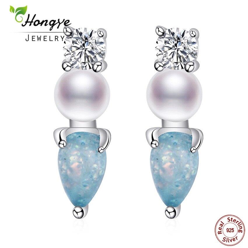 Hongye Fashion Genuine Natural Freshwater Pearl Earring 925 Sterling Silver Stud Earring Cute Beautiful Charm Jewelry Femme Gift