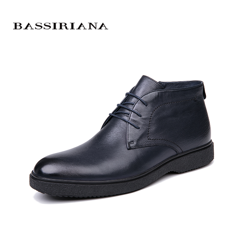 Image 2 - BASSIRIANA brand 2018 quality genuine leather winter shoes men's warm shoes men's round toe Size 39 45 Free Shipping-in Formal Shoes from Shoes