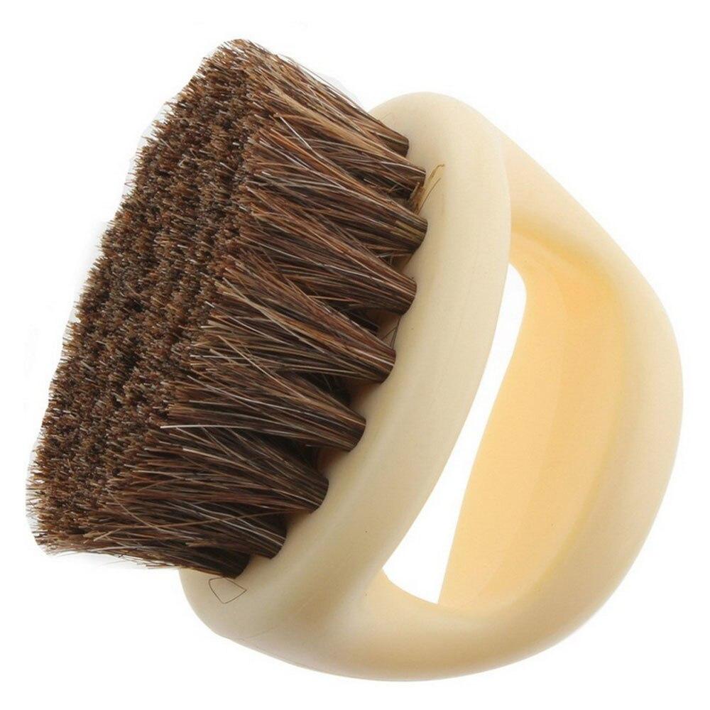 Behogar Mini Portable Round Shaped Horse Hair Shoe Leather Shoes Cleaning Polishing Dusting Brush
