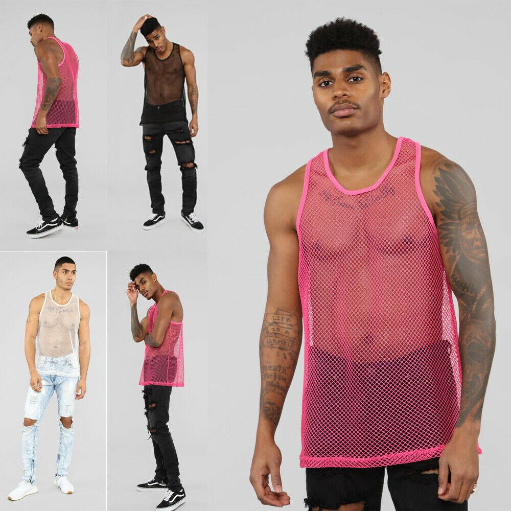 Men/'s Mesh Crop Top Gym Muscle Tee Tank Top Sleeveless Vest Clubwear Shirts M-XL
