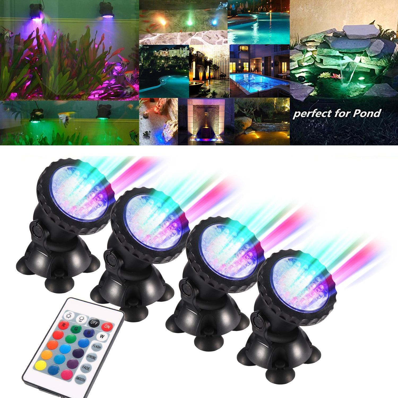 Lampe Aquarium 1 Set 4 lumières projecteur sous-marin LED pour Aquarium éclairage lumière RGB Aquarium piscine lumière D20