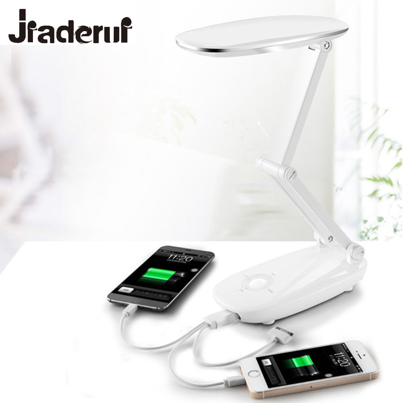 Jiaderui LED Foldable Desk Table Lamp Power Bank Adjustable Rechargeable Reading Dimmer Light Office Student Reading Lighting