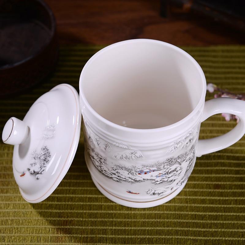 900 мл Традиционный китайский чай чашка с крышкой Керамика синий и белый фарфор офиса большой Ёмкость водное молочко, Кофе кружка чашка