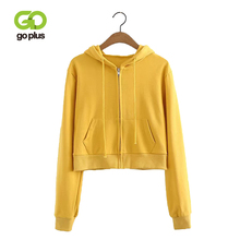 GOPLUS Women Crop Short Sweatshirt Long Sleeve Cropped Hooded Hoodie Drawstring Female Zip Up Pockets Autumn Winter C6637