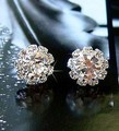 Korean imitation diamond crystal fashion jewelry shining zircon OL sunflowers round earrings for women  free shipping