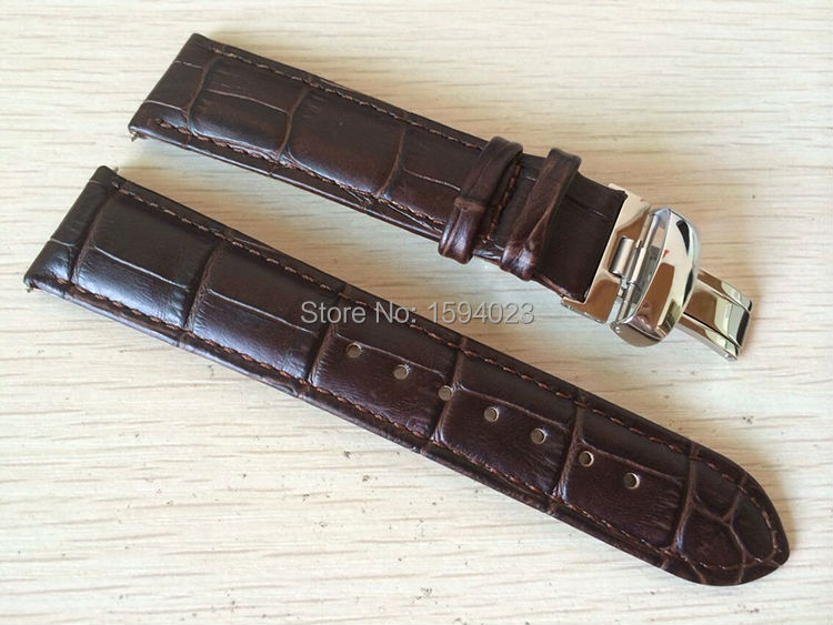 20mm (Buckle18mm) T063639 T063617 High Quality Silver Butterfly Buckle + T063610 Brown Genuine Leather Watch Bands Strap Men