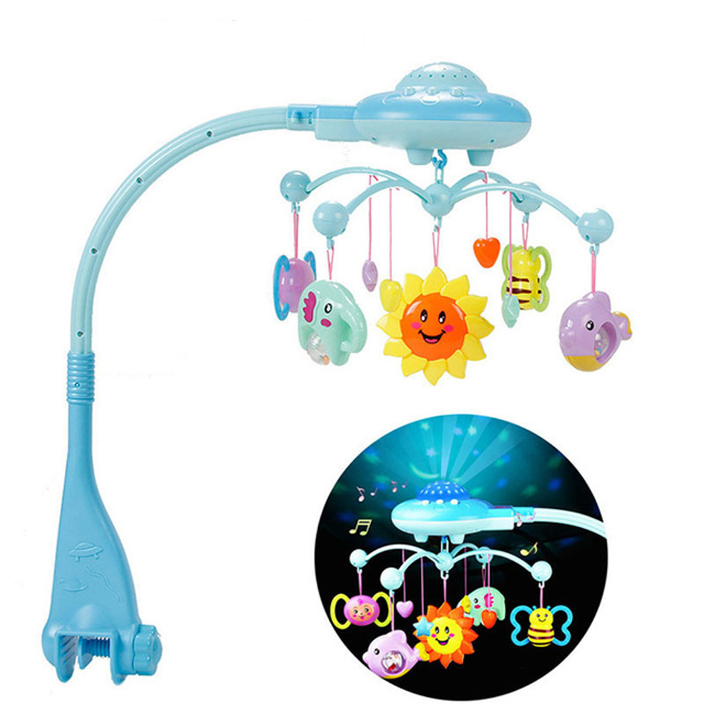 Baby Rattles Toy 0-12 Months Crib Mobile Musical Bed Bell With Sky Stars Rattles Projection Cartoon Early Learning Kids Toys baby bed bell toy musical crib mobile rotating rattles baby hanging toys 0 12 months