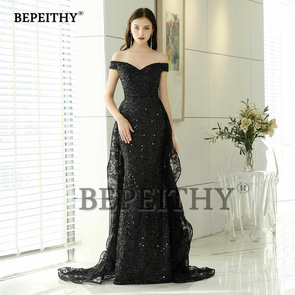 4b0109c4cd BEPEITHY New Design Black Lace Long Evening Dresses Party Elegant 2019 Robe  De Soiree Mermaid Prom Dress With Lace Skirt