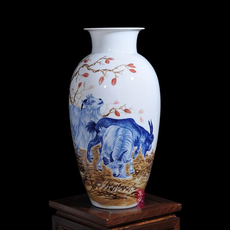 Jingdezhen ceramics porcelain flower vase Wang Yunxi Sanyangkaitai modern living room decoration craftsJingdezhen ceramics porcelain flower vase Wang Yunxi Sanyangkaitai modern living room decoration crafts