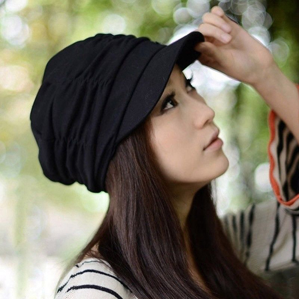 New Korean Solid Hat Women Autumn Winter Knited Hat Pleated Newsboy Cap Warm Outdoors Visor Skull Brown Cotton Casual