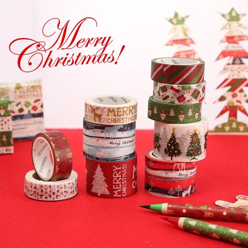 Creative Golden Christmas Japanese Decorative Adhesive Tape Washi Tape DIY Scrapbooking Masking Tape School Office Supply