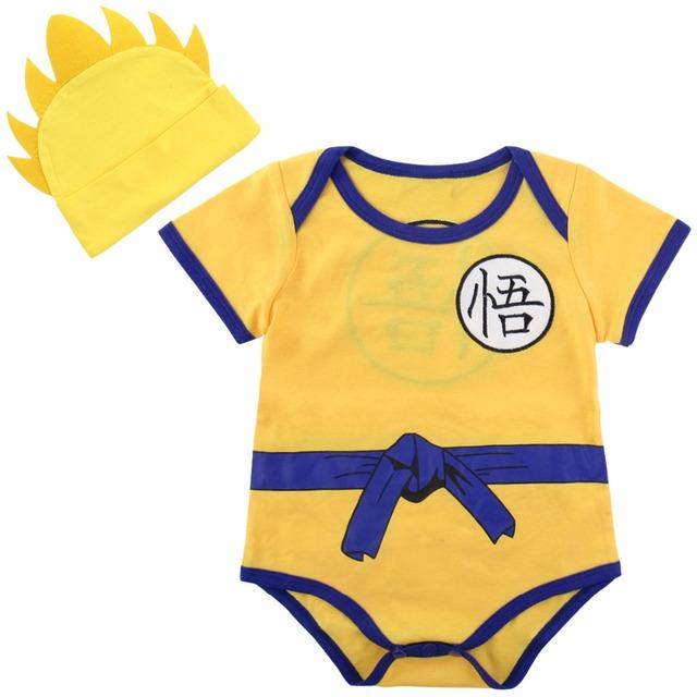 Nouveau-né Bébé Garçons Body Dragon Ball Z Costume Vegeta Infantile 2 PCS Ensemble avec Chapeau 0-18 Mois