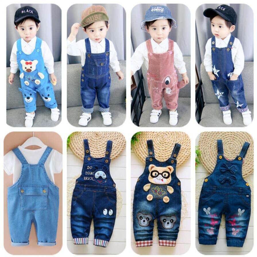 New Born Baby Trousers Infant Cotton Cute Jeans Little Kids Suspenders Denim Pants 0-4T Yong Baby Outwear Boys Girls Trousers