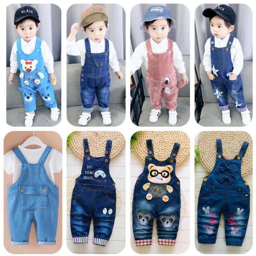 New Born Baby Trousers Infant Cotton Cute Jeans Little Kids Suspenders Denim Pants 0-4T Yong Baby Outwear Boys Girls Trousers