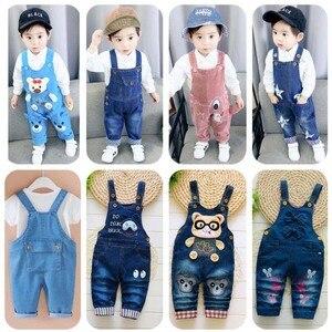 Image 1 - Pantaloni per neonati appena nati jeans carini in cotone per bambini bretelle per bambini pantaloni in denim 0 4T (baby outwear ragazzi ragazze pantaloni