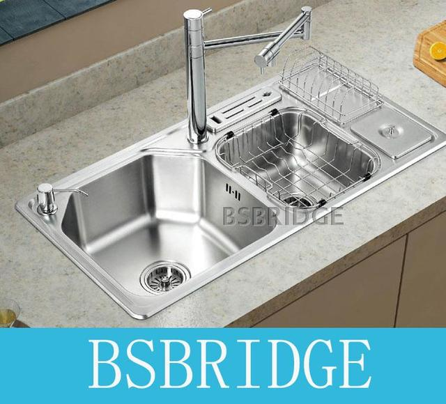 BSBRIDGE 304 Stainless Steel Double Bowl Kitchen Sinks One Piece ...