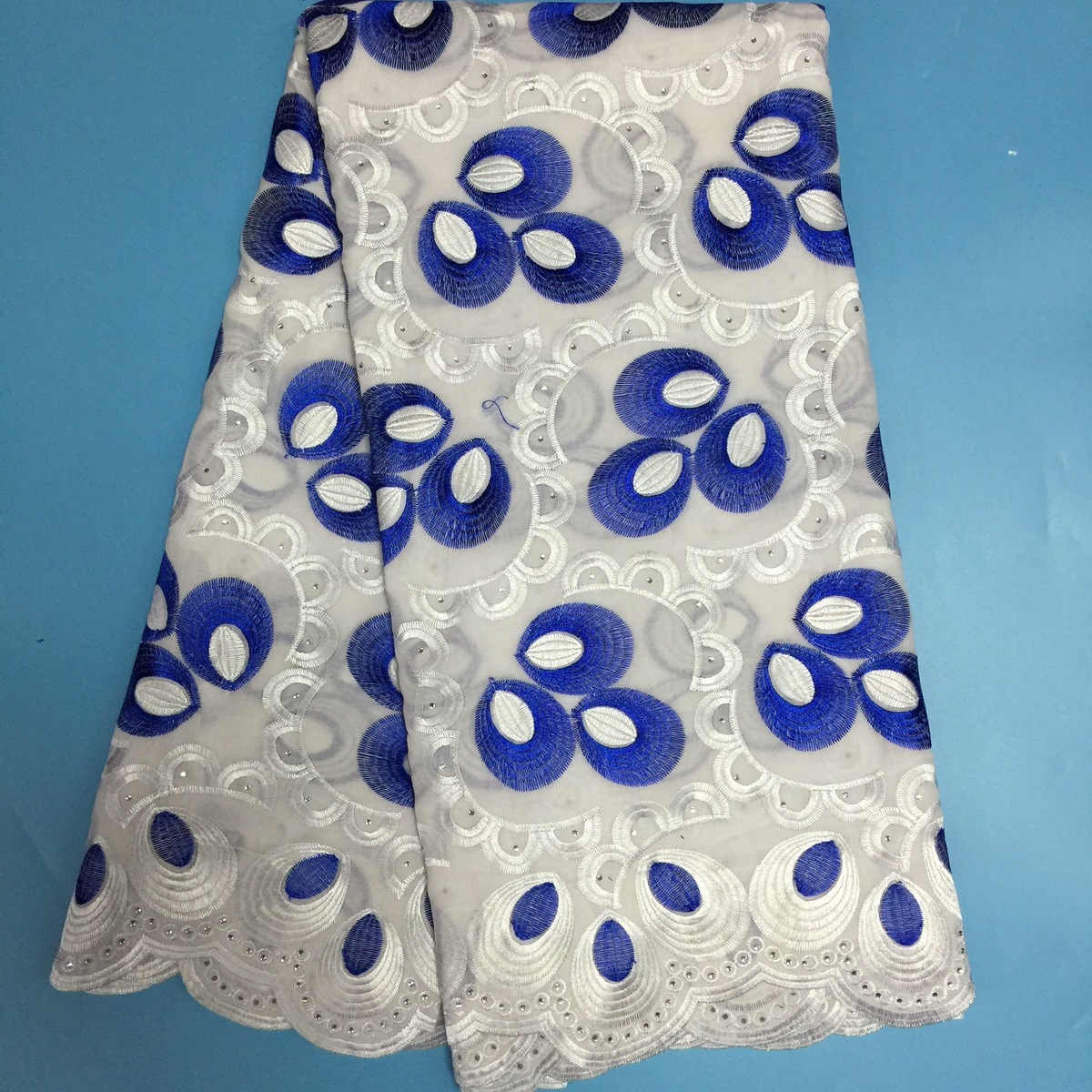 Blue White Nigerian Stone Lace Fabric High Quality African Swiss Voile Lace High Quality Cotton Swiss