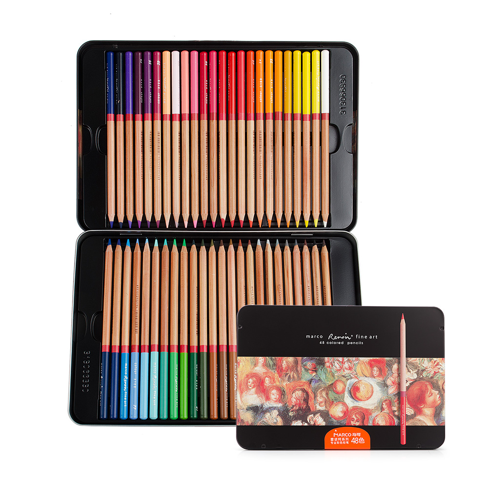 Marco Renoir fine art professional Oily Colored pencils 48 Color Painting pencil  with Tin Box marco renoir fine art professional oily colored pencils 48 color painting pencil with tin box