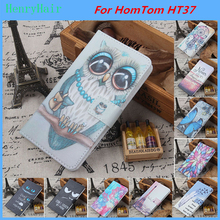 Hot! Cartoon Pattern PU Leather Cover Case Flip Card Holder Cover For HomTom HT37 Wallet Phone Cases