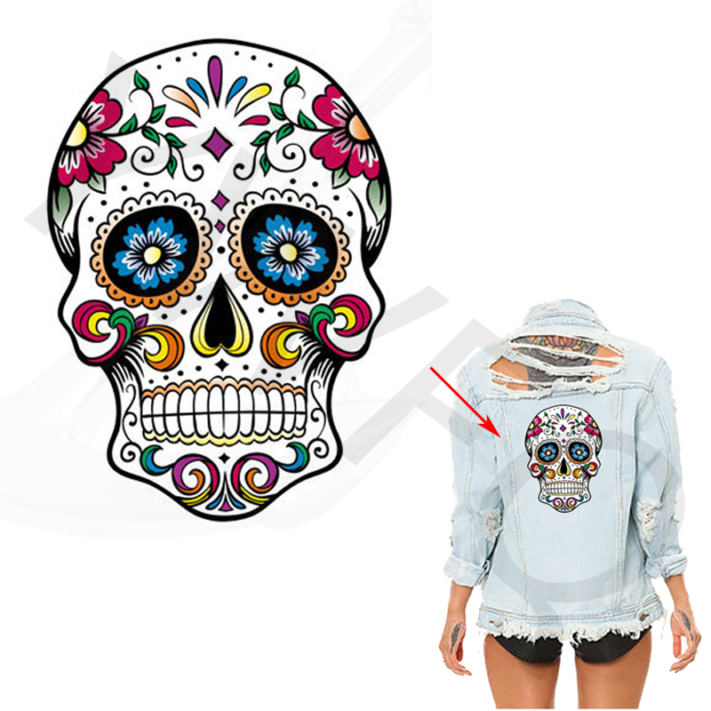 Hot Pyrography 26*19cm Heat Transfer West Coast Style Skull Iron On Patches For Clothes DIY T-Shirt Clothing Decoration Printing