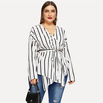 White Asymmetrical Plus Size V-neck Belted Striped Blouses