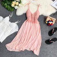 Careful Knitted Ribbon Brassiere Cushion V collar and dew back Stitching Drop Sense Pure Color Temperament Dress 2019