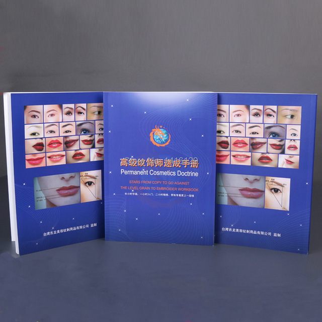 Free Shipping 1 piece Permanent Makeup Practice Book Cosmetics Doctrine 3D Embroidery Eyebrow/Lips Teaching Book For Green Hand