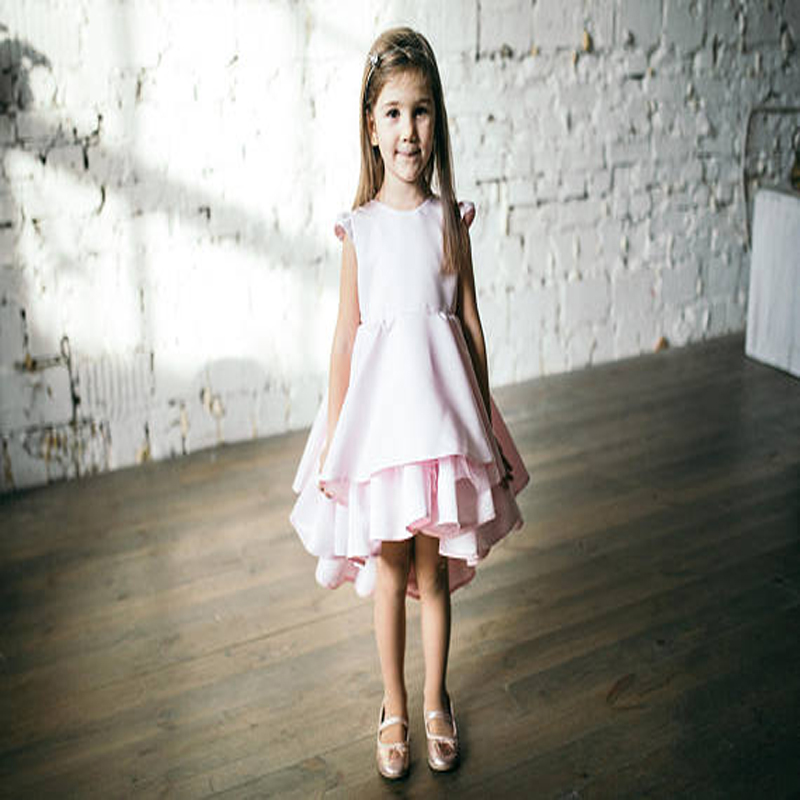 все цены на 2018 Sleeveless A-Line Satin Flower Girl Dresses Pink Birthday Party Girl Dress Knee- Length Mother Daughter Dresses For Girl онлайн