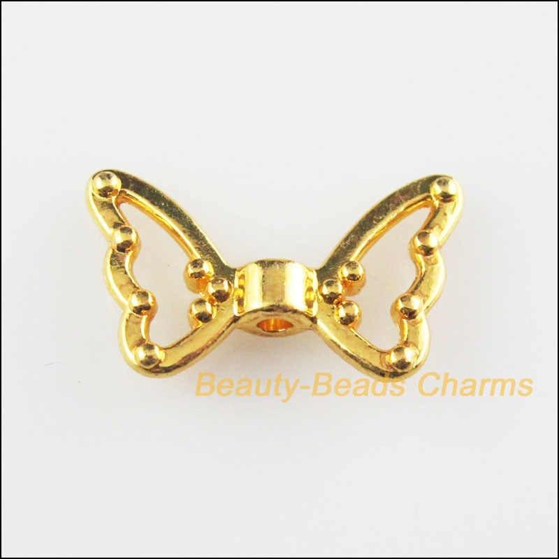 אופנה 12 Pcs זהב צבע בעלי החיים פרפר של כנפי Spacer חרוזים קסמי 11x18mm