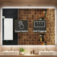 Bathroom Bath LED Wall Mirror Illuminated Light Anti Fog Makeup Mirror Lights Rectangle Shower Washroom Mirror Bathroom Fixtures
