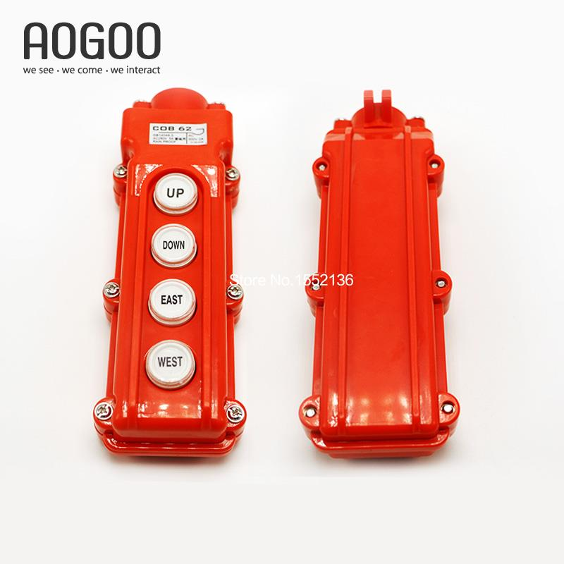 Waterproof Hoist Crane 4Ways UP/DOWN/EAST/WEST Directions Remote Control COB-62 Pushbutton Swtich Pendant Control Station