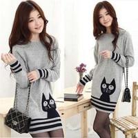 2016 del maglione di modo per le donne inverno pullover maglia donna maglione della signora di grandi dimensioni del fronte del gatto grigio