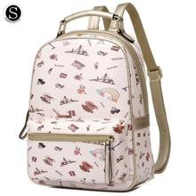 SENKEY Стиль женщины рюкзак Печать Мультфильм Пейзаж письмо искусственной кожи дизайнерские рюкзак школьные сумки для подростков женская сумка