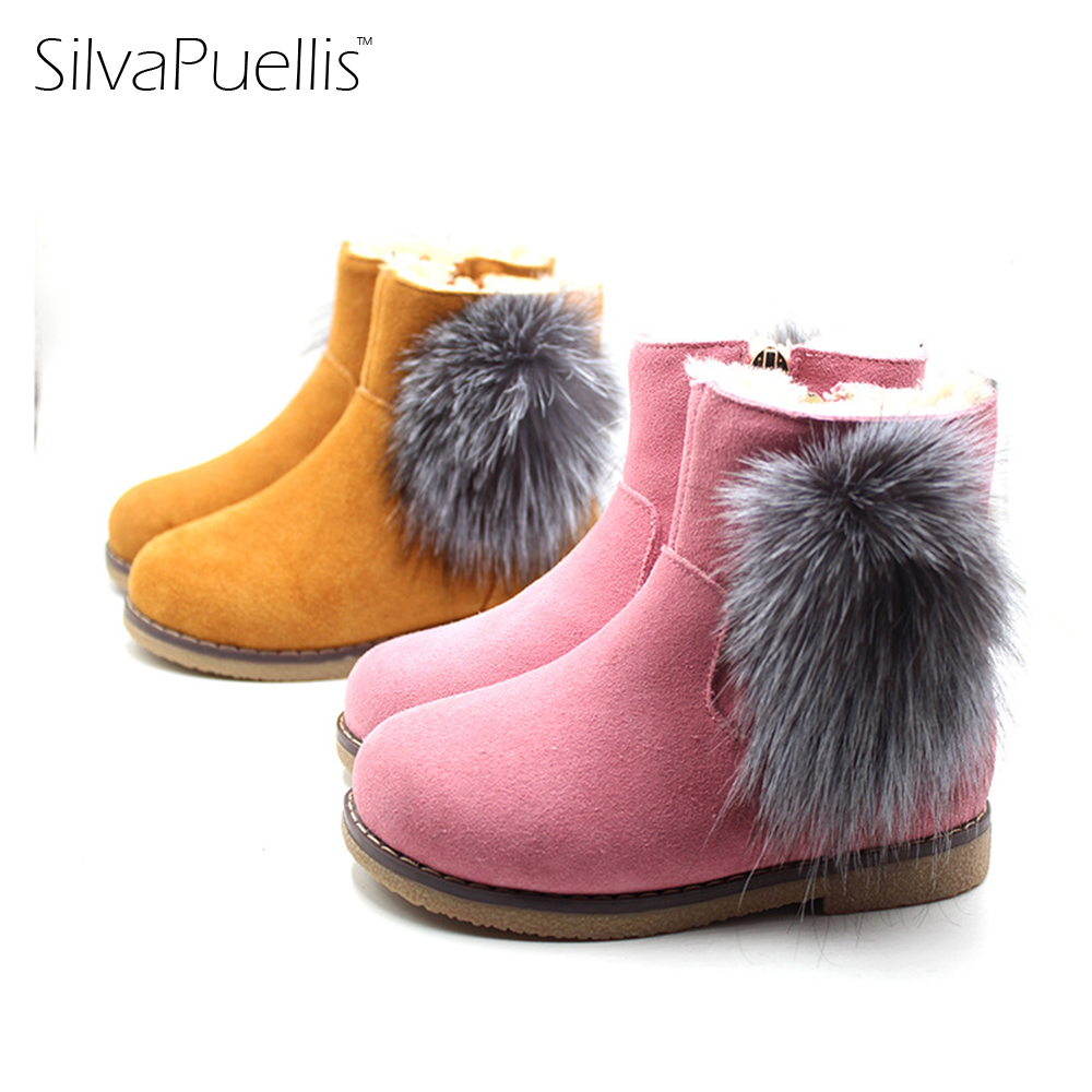 SilvaPuellis Children's New Simple Fashion Fluff Snow Boots Girl Winter Beautiful Warm Cowhide Rubber Flat Boots silvapuellis 2017 new winter simple stylish snow boots for girls children princess rubber low heels warm boots