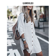 Купить с кэшбэком Women Summer Fashion Beach Tops Swimsuit Cover Up Plus Size Long Sleeve White Cotton Pocket Button Front Open Shirt Dress N648
