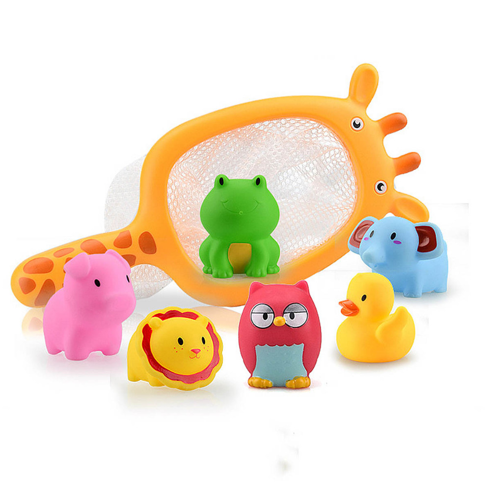 Bath toy Fishing Toys Network Bag Duck Fish Kids Baby Water Children Interesting Shower Tub Pool Water Soft Floating Cute Bath