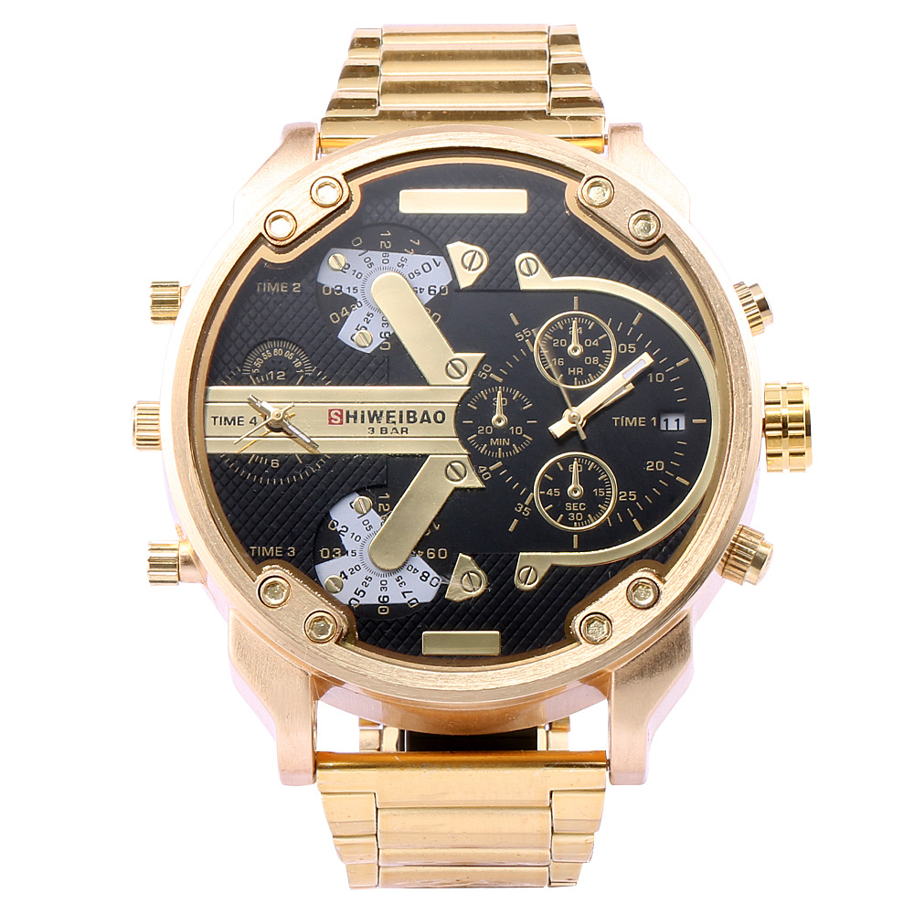 SHIWEIBAO A3137 Men Watch Dual Time Display Big Dial Stainless Steel Band Men Quartz Military Wristwatch relogio masculino ...