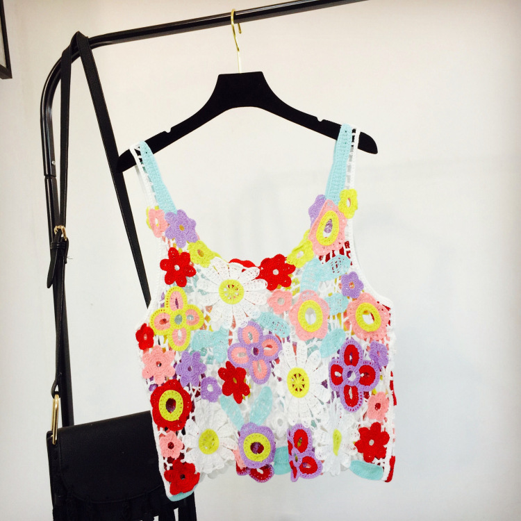 2018 Women Summer Short Vest Sexy Hollow Out O Neck Beachwear Colorful Flower Lace Sleeveless Crop Tops Crochet Tank Tops