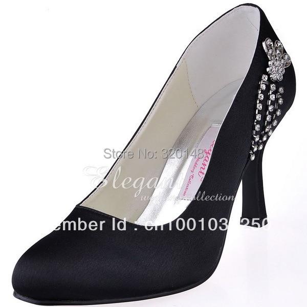 ФОТО Women Fashion Formal Evening Shoes EP11008 Black Closed Toe Stiletto Heels Satin Wedding Party Prom Pumps