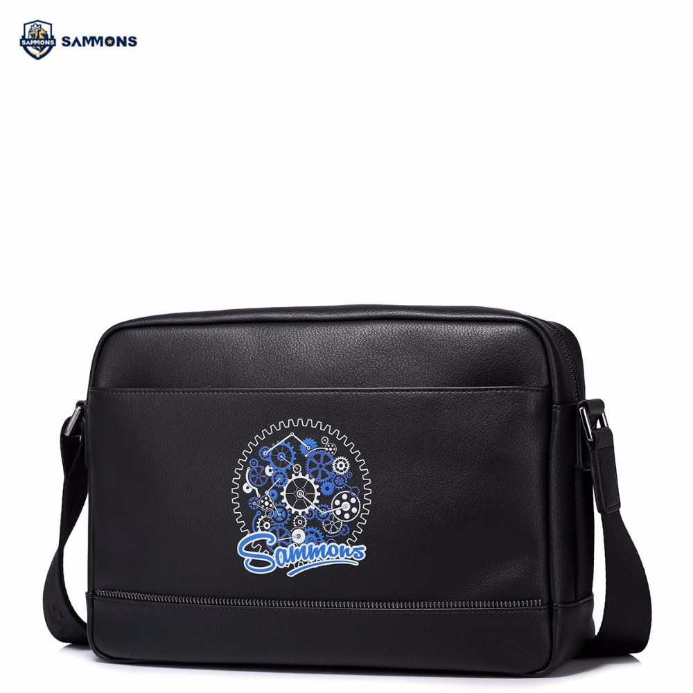 купить SAMMONS Brand New Design Fashion Printing PU Leather Men Shoulder Bag Crossbody Messenger Casual Bags недорого