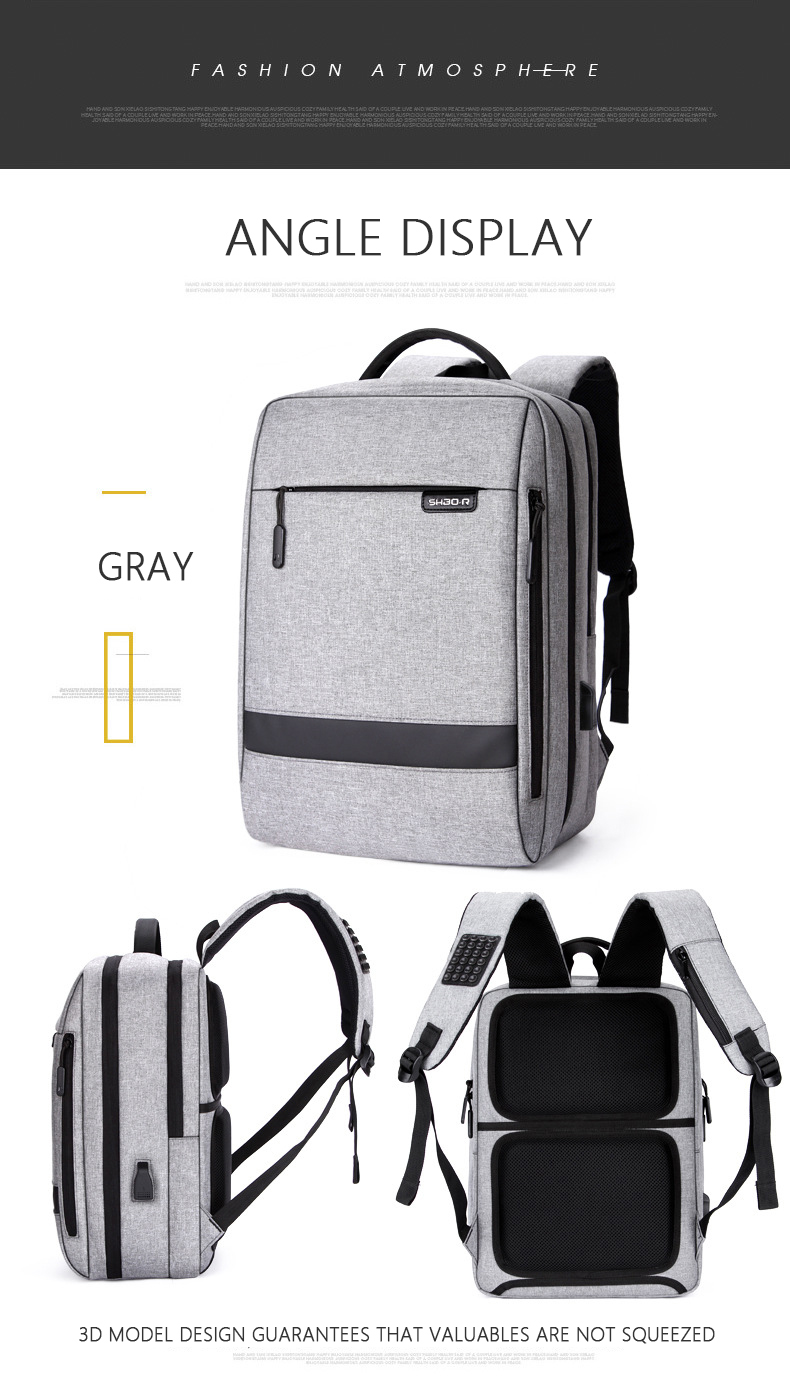 HTB1XO6kasfrK1RjSszcq6xGGFXaH - Mens Casual USB Charging Work Backpack Large Space Short Trip Male Waterproof