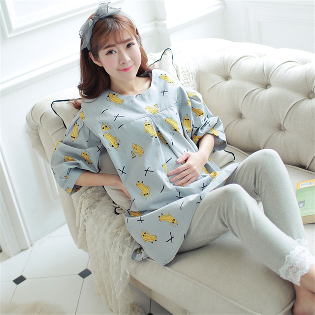 8143b8ef6e Cute Summer Maternity Clothes Pregnancy Pajamas For Pregnant Women Casual  Cotton Plus Size Maternity Nightgowns 70M0149